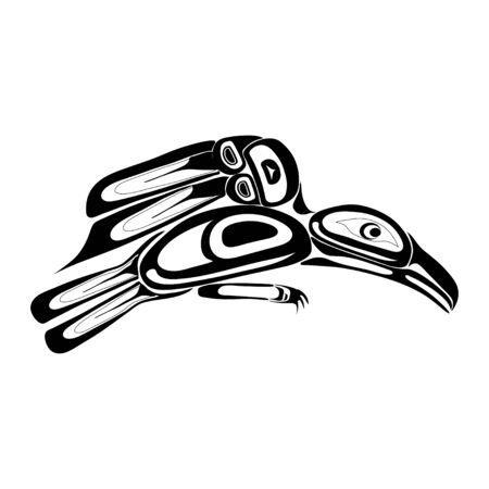 Haida raven tattoo. Ornament in haida style. Isolated bird on white background. Black monochrome. Vector. Vector Illustration