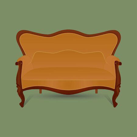 Vintage furniture. Retro brown sofa on green background. Vector.