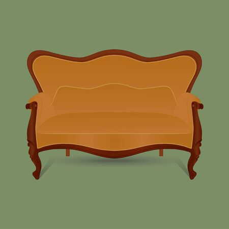 Vintage furniture. Retro brown sofa on green background. Vector. Фото со стока - 129676438