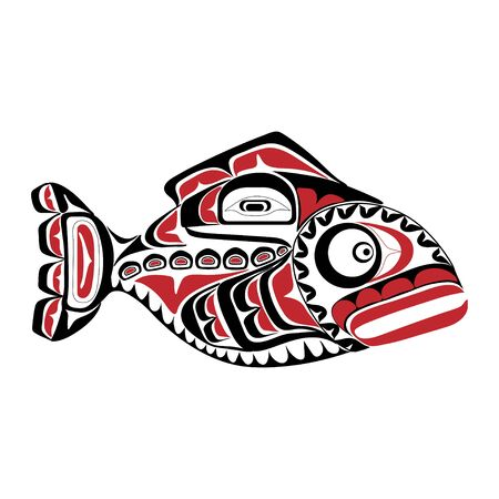 Haida perch tattoo. Ornament in haida style. Isolated fish on white background. Black and red color. Vector. Banque d'images - 131194312