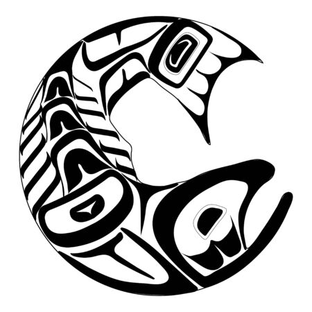 Haida salmon tattoo. Ornament in haida style. Isolated fish on white background. Black monochrome. Vector. Banque d'images - 131194329
