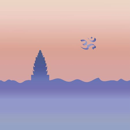 Hinduism temple and symbol. Vector.