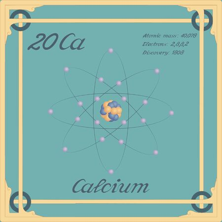 Periodic table element. Calcium colorful icon. Vector.