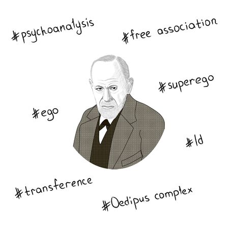 Portrait of Sigmund Freud. Key concepts in the form of hashtags. Hand drawn illustration. Vector.