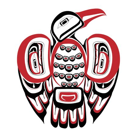 Haida bird tattoo. Ornament in haida style. Isolated bird on white background. Black and red color. Vector.