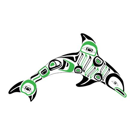 Haida dolphin tattoo. Ornament in haida style. Isolated fish on white background. Black and green color. Vector. Banque d'images - 131194399