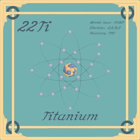 Periodic table element. Titanium colorful icon. Vector.