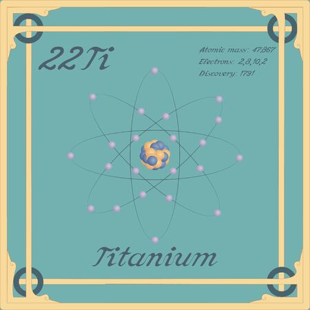 Periodic table element. Titanium colorful icon. Vector.