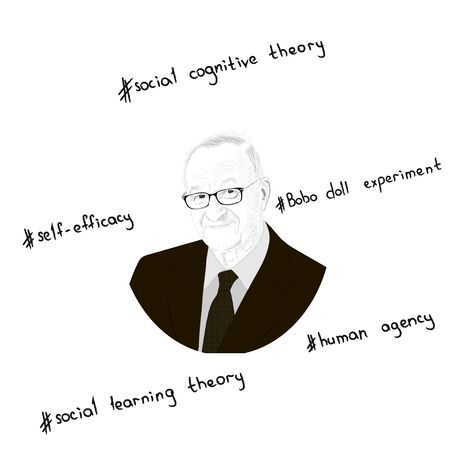 Portrait of Albert Bandura. Key concepts in the form of hashtags. Hand drawn illustration. Vector.