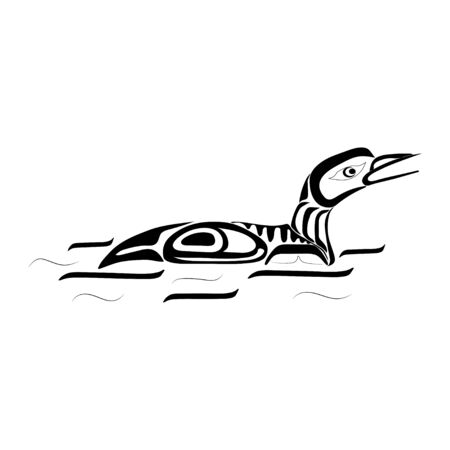 Haida duck tattoo. Ornament in haida style. Isolated bird on white background. Black monochrome. Vector. Banque d'images - 131194406