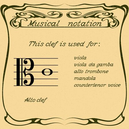 Alto clef using. Vector.