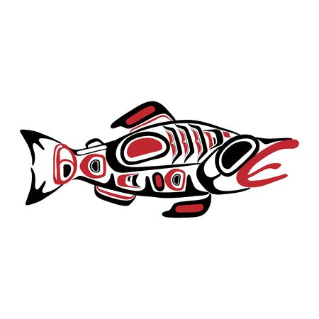 Haida fish tattoo. Ornament in haida style. Isolated fish on white background. Black and red color. Vector. Banque d'images - 131195105