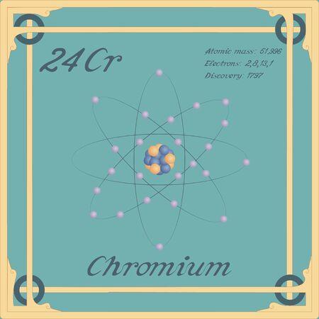 Periodic table element. Chromium colorful icon. Vector.