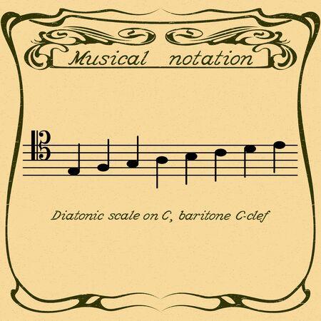 Diatonic scale on baritone C-clef. Vector.