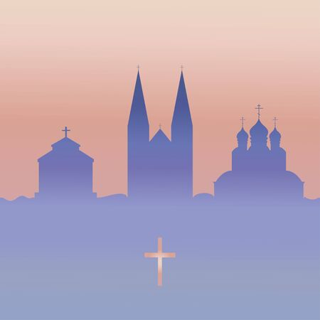 Christianity temple and cross. Vector.