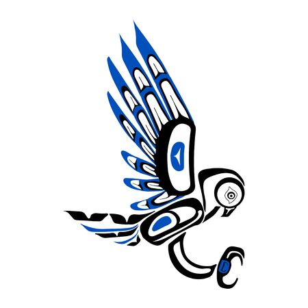Haida owl tattoo. Ornament in haida style. Isolated bird on white background. Black and blue color. Vector. Vector Illustration