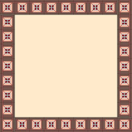 African traditional ornament. Square frame with floral ornament. Ancient traditions. Vector. Фото со стока - 131195260