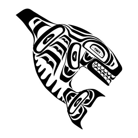Haida killer whale tattoo. Ornament in haida style. Isolated fish on white background. Black monochrome. Vector.