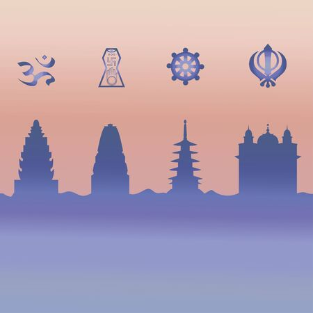 Indian temple and symbol. Vector.