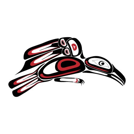 Haida raven tattoo. Ornament in haida style. Isolated bird on white background. Black and red color. Vector. Banque d'images - 131195471