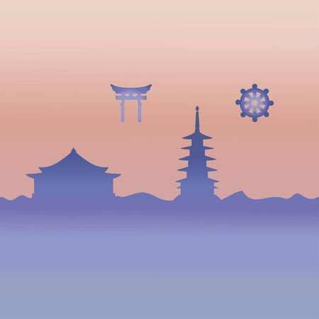 Japanese temple and symbol. Vector.