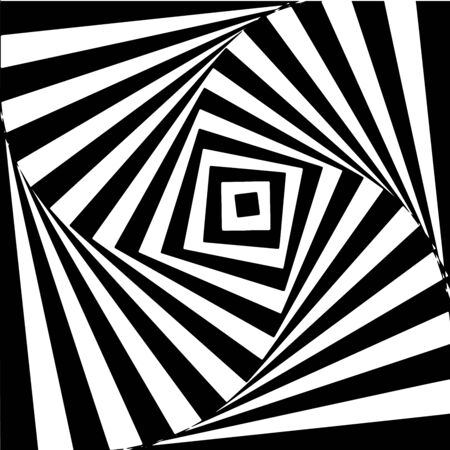 Optical art. Geomrtric black and white abstract illusion. Vector. 向量圖像