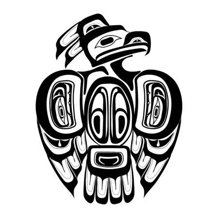 Haida thunderbird tattoo. Ornament in haida style. Isolated bird on white background. Black monochrome. Vector.