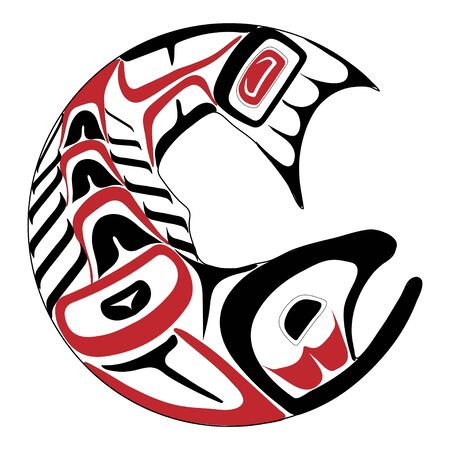 Haida salmon tattoo. Ornament in haida style. Isolated fish on white background. Black and red color. Vector. Vector Illustration