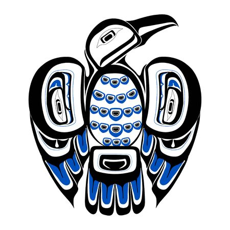Haida bird tattoo. Ornament in haida style. Isolated bird on white background. Black and blue color. Vector.