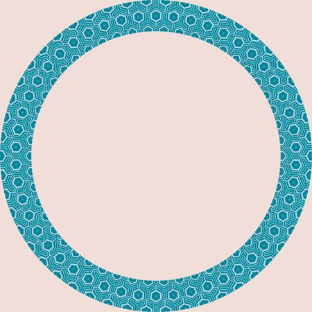 Persian traditional ornament. Round frame with geometric ornament. Ancient traditions. Vector.