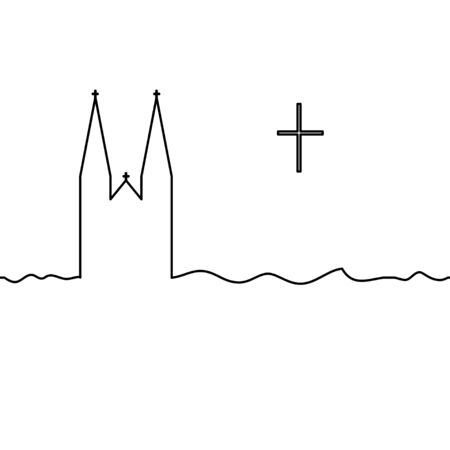 Catholic temple and cross. One line drawing. Vector. Ilustracja
