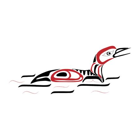 Haida duck tattoo. Ornament in haida style. Isolated bird on white background. Black and red color. Vector. Vector Illustration