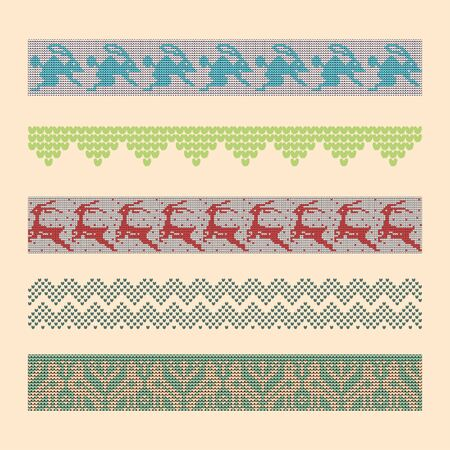 Norwegian traditional ornament. Borders with zoomorphic ornament. Knitting Pattern. Vector.