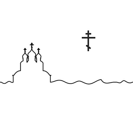 Orthodox church and cross. One line drawing. Vector.