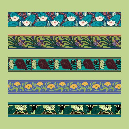Vintage borders with lotus, iris and poppy. Art Nouveau style. Vector.