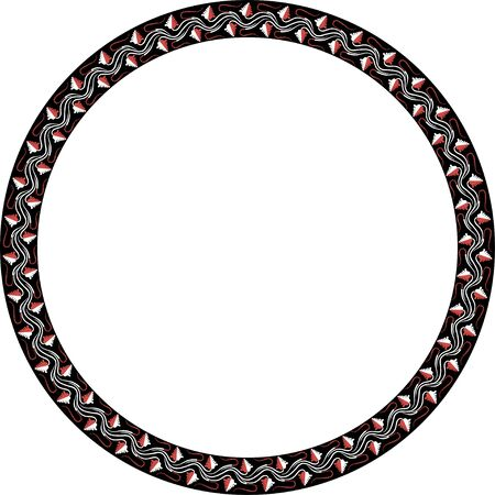 Round frame with greek floral ornament. Ancient Greek ornament style. Vector.
