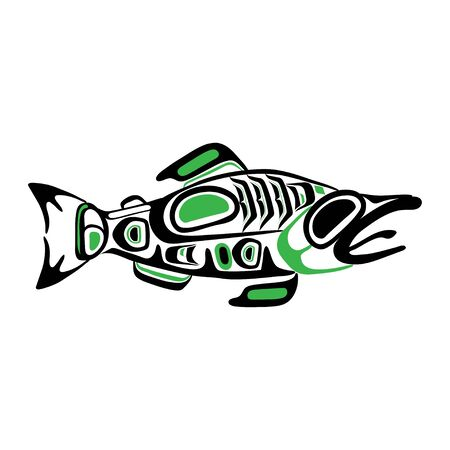 Haida fish tattoo. Ornament in haida style. Isolated fish on white background. Black and green color. Vector.