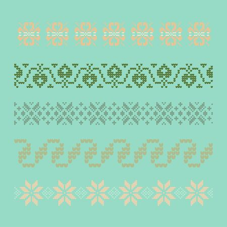 Norwegian traditional ornament. Borders with floral ornament. Knitting Pattern. Vector. Stock Vector - 133206880
