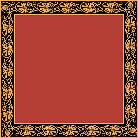 Square frame with greek palmetta ornament. Ancient Greek ornament style. Vector.