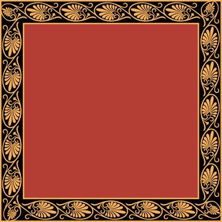 Square frame with greek palmetta ornament. Ancient Greek ornament style. Vector. Stok Fotoğraf - 133207138