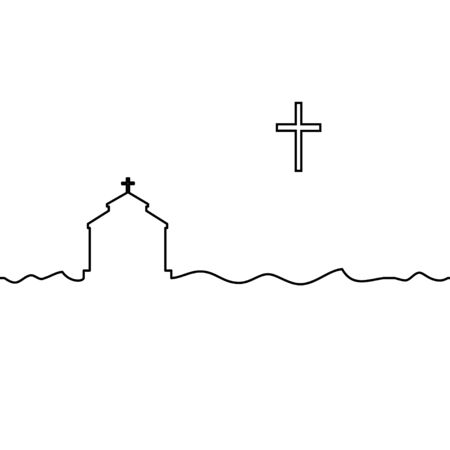 Protestant temple and cross. One line drawing. Vector.