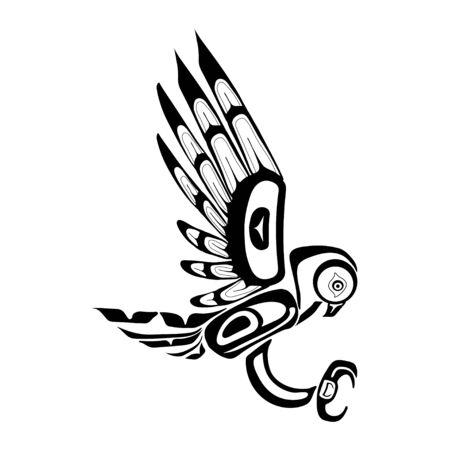Haida owl tattoo. Ornament in haida style. Isolated bird on white background. Black monochrome. Vector. Vector Illustration