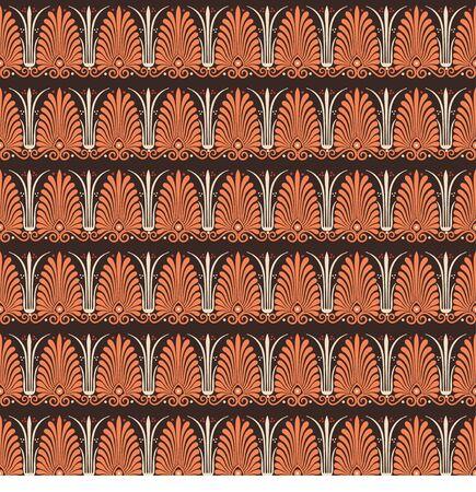 Seamless pattern with greek palmetta ornament. Ancient Greek ornament style. Vector. Illusztráció