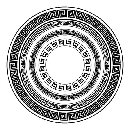 Traditional simple meander. Black and white circle frame. Ancient Greek ornament. Vector.
