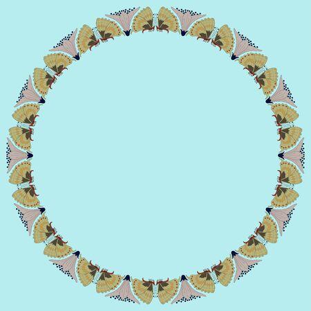 Cadre rond vintage avec des papillons. Ornement zoomorphe. Style Art nouveau. Vecteur.