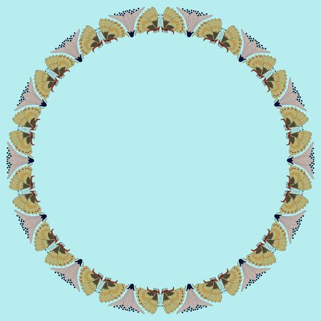 Vintage round frame with butterflies. Zoomorphic ornament. Art Nouveau style. Vector.