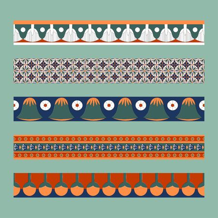 Egyptian traditional ornament. Borders with floral ornament. Ancient traditions. Vector.