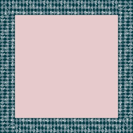 Japanese traditional ornament. Square frame with zoomorphic ornament. Ancient traditions. Vector.