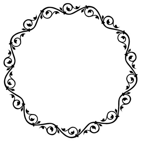 Medieval ornament. Round frame with floral ornament. Ancient traditions. Vector. Illusztráció