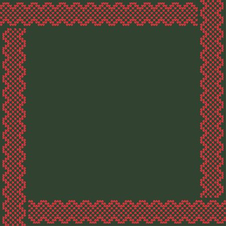 Norwegian traditional ornament. Square frame with geometric ornament. Knitting Pattern. Vector.  Ilustrace